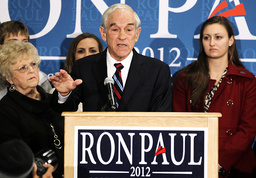 Ron Paul speaks to supporters at a campaign event in Des Moines