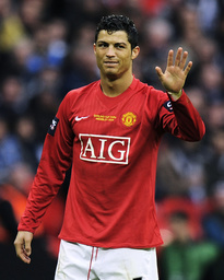 Manchester United's Ronaldo reacts after missed free kick during English League Cup final against Tottenham Hotspur in London
