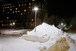 Hotel gardens in snow
