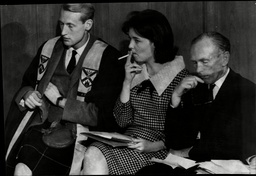 Journalist Activist Judith Todd Having A Smoke At The Teach-in With Lord James Douglas Hamilton And Sir Alec Douglas Home (right) Judith Todd (born 1943) Is Daughter Of Garfield Todd (1908oo2002) Rhodesian Prime Minister 1953-8 And A Political Activi